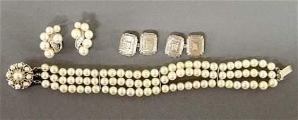 Ladies threestrand pearl diamond and 14k wg bracelet