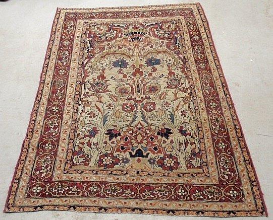 Tabriz oriental directional garden carpet with trees