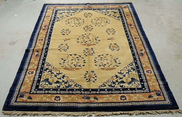 Chinese Peking oriental carpet with a beige center,