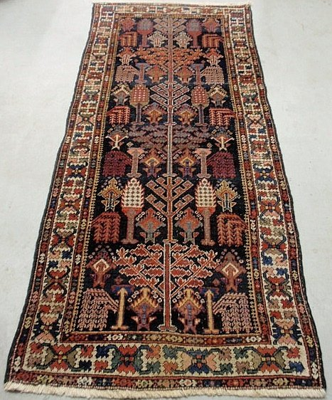 Hamadan oriental hall runner with a blue field and