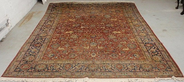 Tabriz oriental carpet, c.1960, with a red field and
