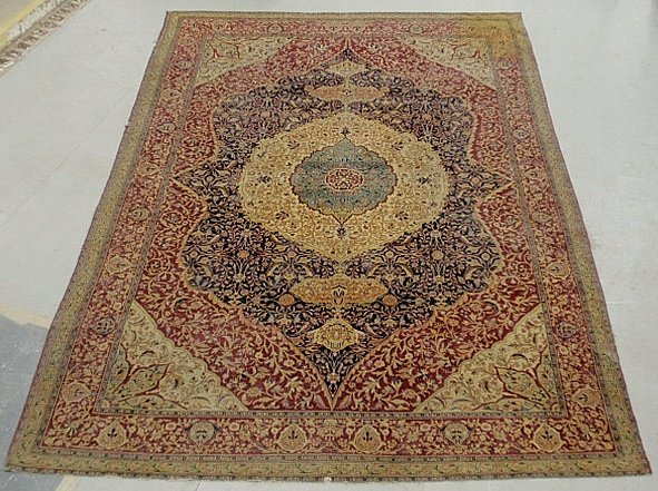 Colorful room size Kerman oriental carpet with center
