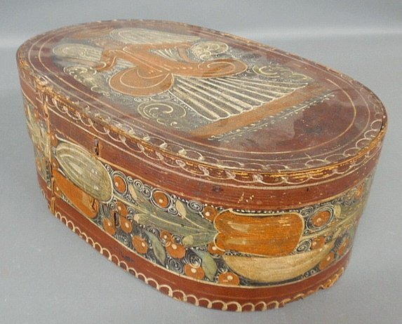 German bride's box, 19th c., with original paint