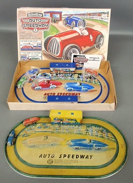 """Tin """"Auto Speedway"""" game/toy by Automatic Toy Co.,"""