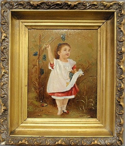 Small Victorian oil on board panting of a little girl