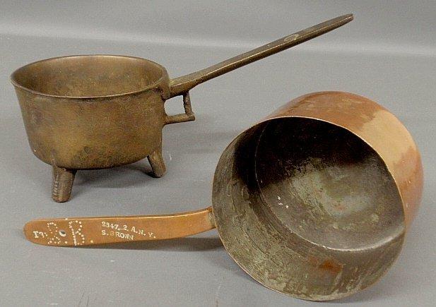 "Heavy brass posnet pot, 8.25""h.x16.5""l., and a copper"