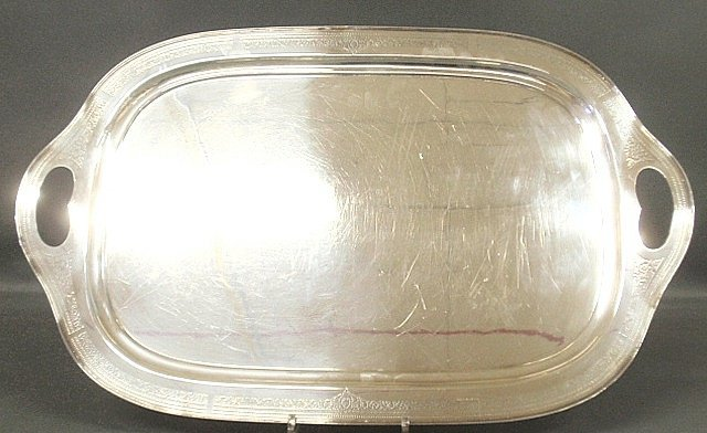 Large silverplate serving tray by Rogers with floral