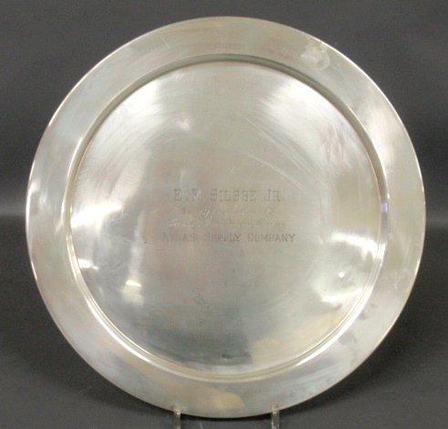 Round sterling silver presentation tray inscribed