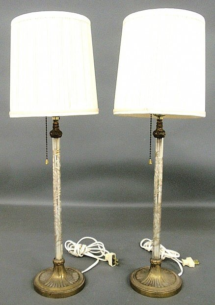 Tall pair of French style table lamps with etched