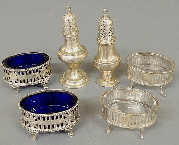 Pair of silver open salts, c.1800, with cobalt blue