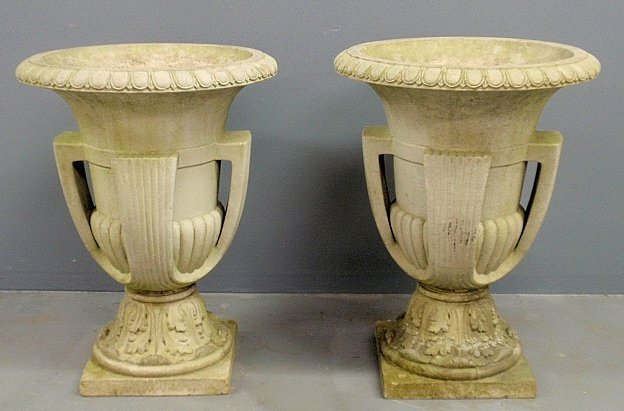 Monumental pair of Art Deco terracotta garden urns