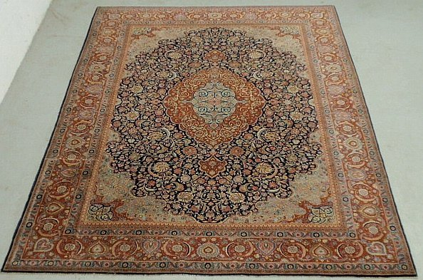 Fine colorful Kashan room size oriental carpet with