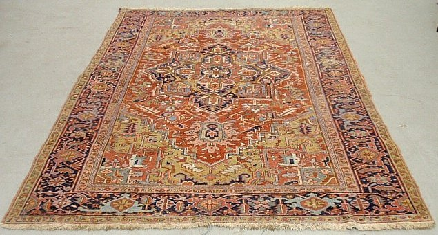 Room size Heriz carpet with center geometric medallion