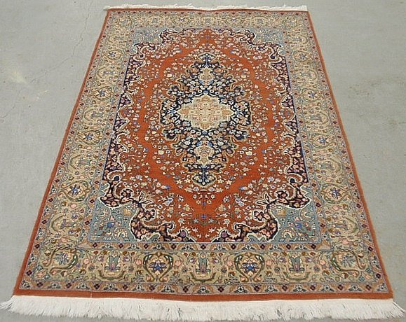Persian oriental throw carpet with center medallion and
