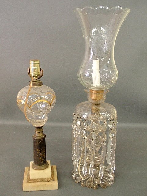 Large cut-glass lamp with drop prisms and etched shade