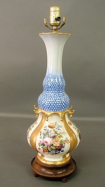 French porcelain lamp with hand-painted floral