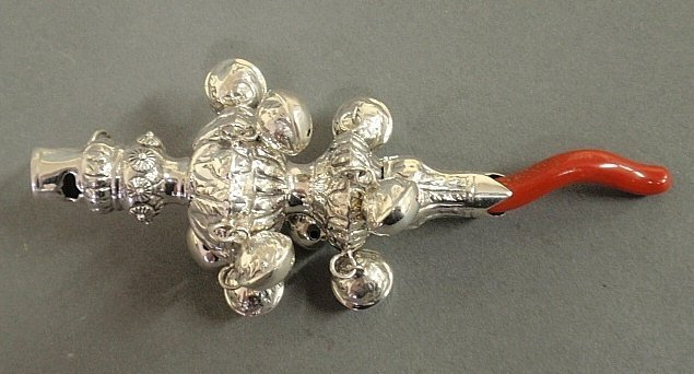 English silver baby rattle with whistle and coral