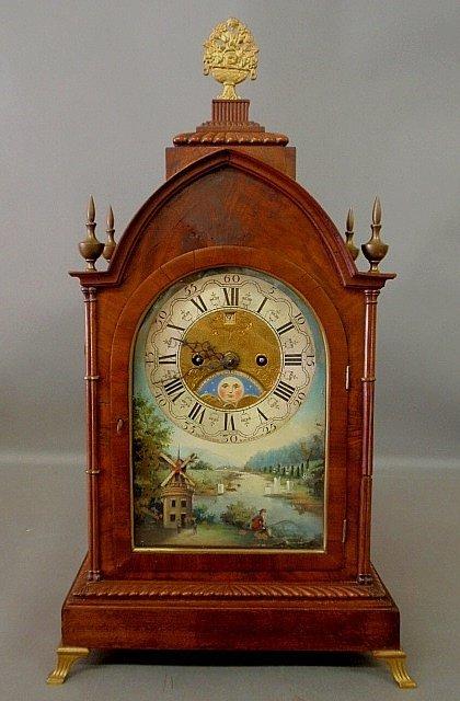 "Large mahogany cased Dutch bracket clock signed ""J D K"
