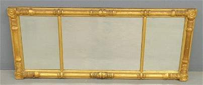 Classical form gilt wood overmantel mirror