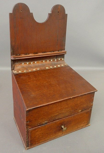 Hanging English oak saltbox, 19th c., with a lower draw