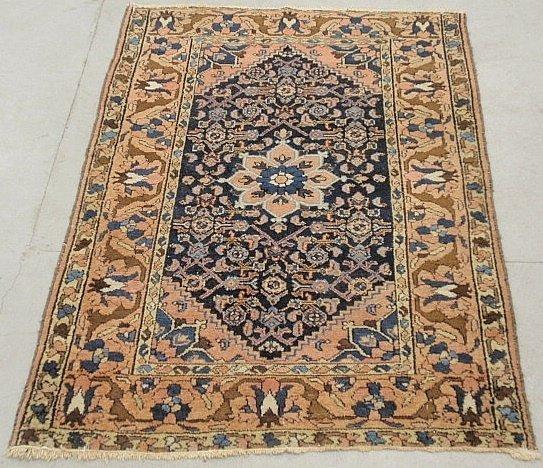 "Hamadan oriental mat with blue center and rosette. 3'7"""