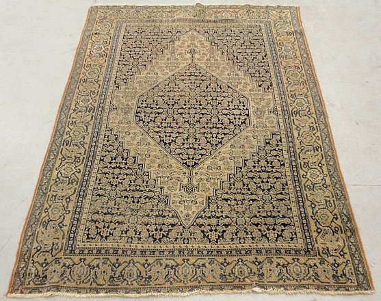 Persian oriental carpet with overall blue field and geo