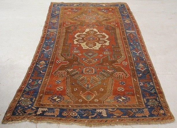 Large Kazak oriental center hall carpet with center med