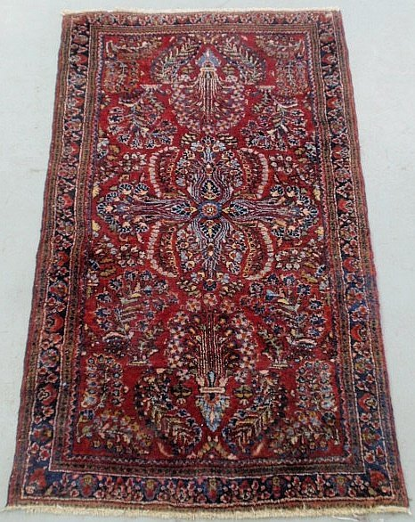Sarouk oriental hall runner with red field and floral