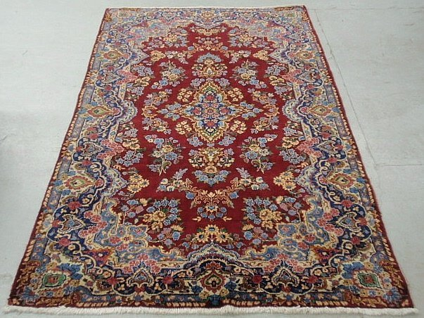 Colorful oriental center hall carpet with overall