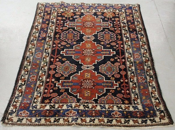 Shirvan oriental center hall carpet with three red
