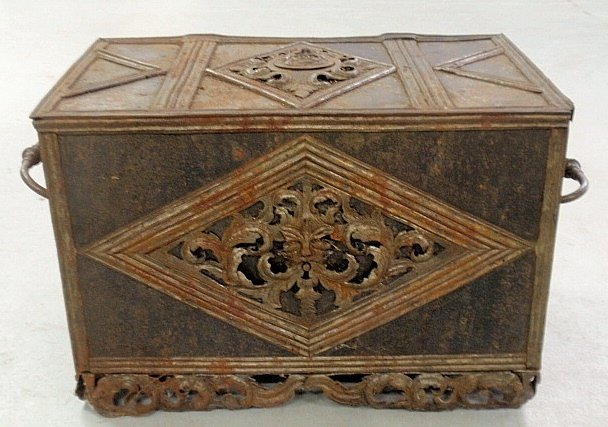 Continental iron strongbox, c.1780, with grotesque mask