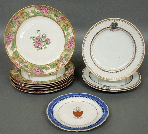 Set of six Chinese porcelain plates, c.1850, with