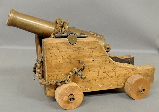 Brass signal cannon, probably 19th c., unmarked, barrel