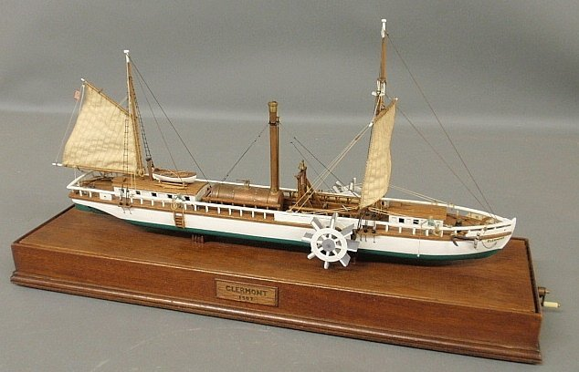Wood ship model of the side-wheeler Clermont, mounted