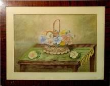 Large framed and matted folk art pastel still life of