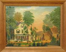 Oil on artist board painting of a farmhouse with