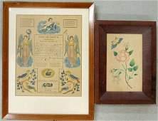 """Hand colored print fraktur/birth certificate """"Elizabeth"""