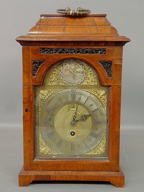 Georgian burl walnut cased bracket clock, c.1760, the