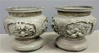 Large pair of Japanese bronze planters, 19th c., each