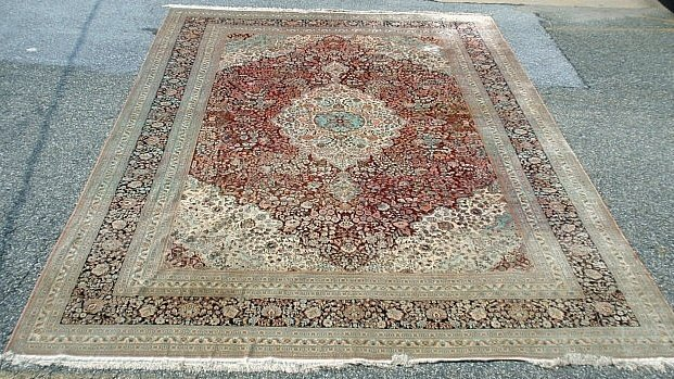 Palace size silk oriental carpet with floral patterns a