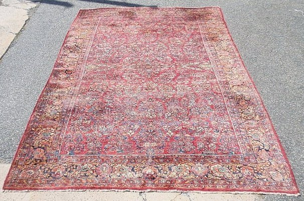 Colorful room size Sarouk oriental carpet with overall