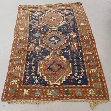 Kazak oriental center hall carpet with three center