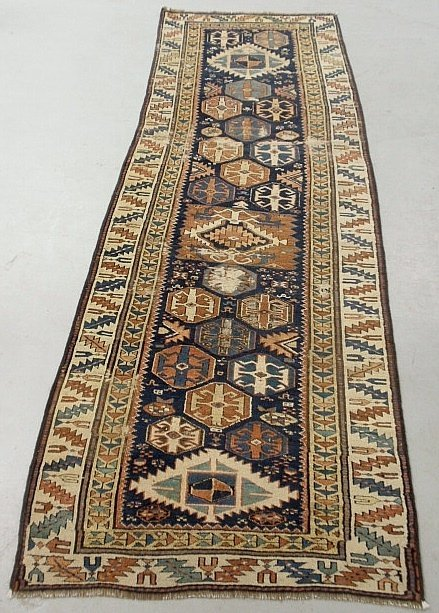 Shirvan oriental hall runner with overall geometric
