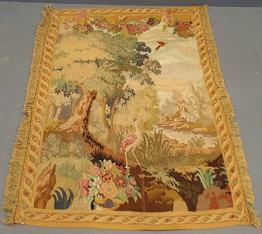French Aubusson tapestry with exotic birds and ruins.