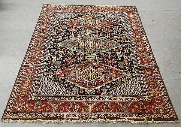 Colorful oriental center hall carpet with three