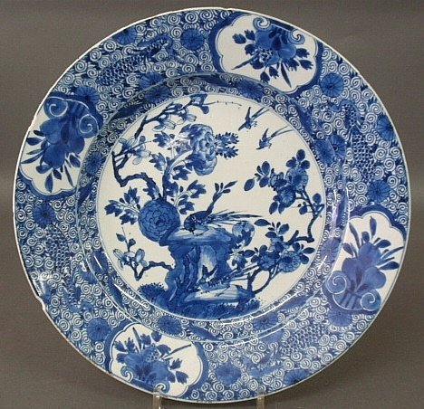 Large 19th c. Chinese blue and white porcelain charger.
