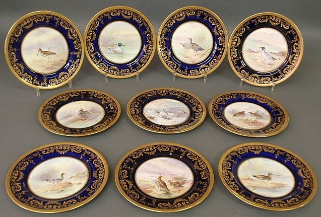Set of ten Royal Doulton porcelain colorful bird
