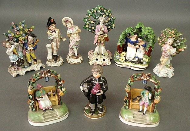 Nine 19th c. Continental porcelain figures, various