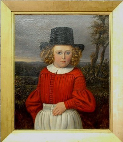 Oil on canvas portrait of a child in Breton riding