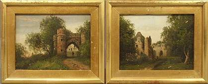 Two small 19th c. oil on panel paintings of English